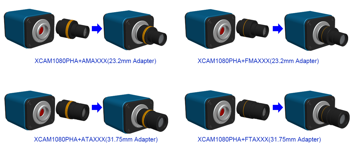 Extension of XCAM1080PHA with Microscope or Telescope Adapter