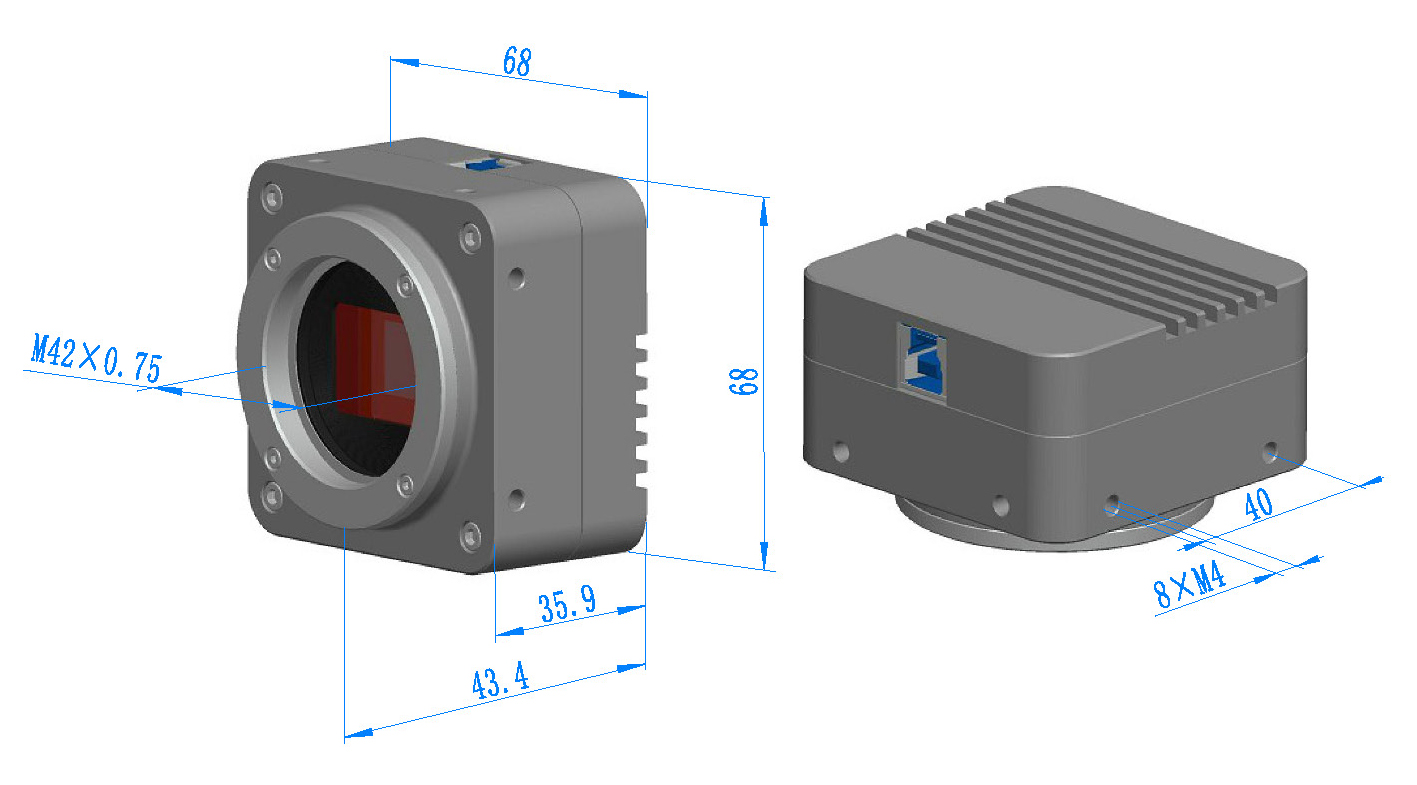 Dimension of BigEye with M42x0.75 or F-mount Interface