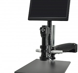 HC62 Industrial Continuous Zoom HDMI Microscope with Ring LED Illuminator